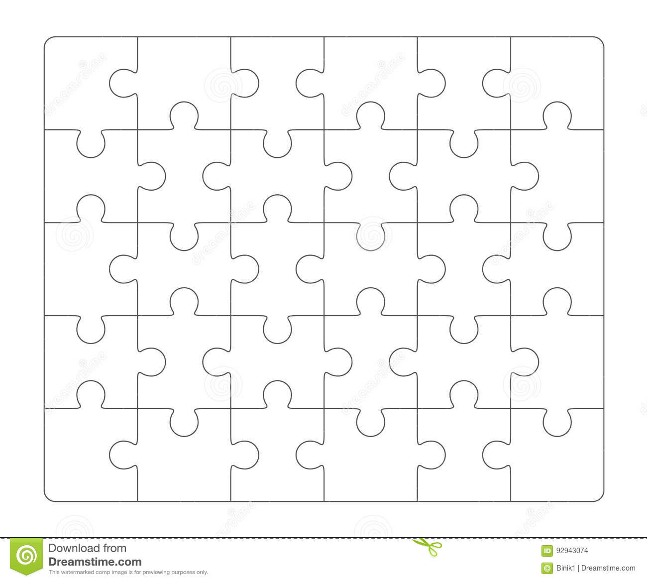 Jigsaw Puzzle Blank 6x5 Elements, Thirty Vector Pieces. Stock Vector ...