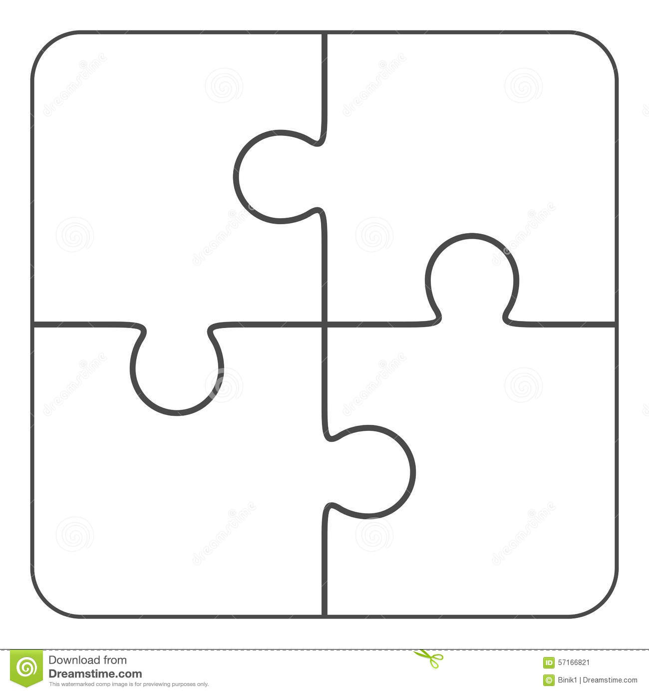 Jigsaw Puzzle Blank 2x2 Four Pieces Stock Illustration