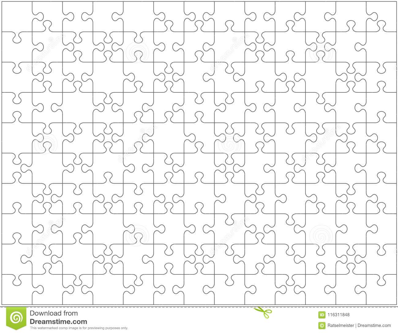 Jigsaw puzzle blank template or cutting guidelines with pieces of various shapes, horizontally oriented