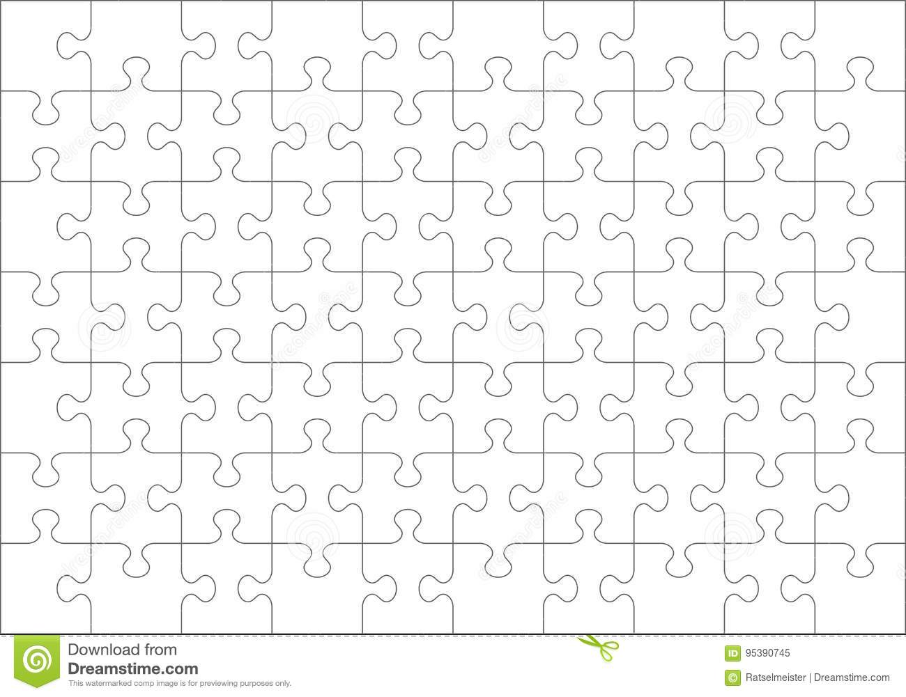 Jigsaw Puzzle Blank Template Of 70 Pieces Stock Vector
