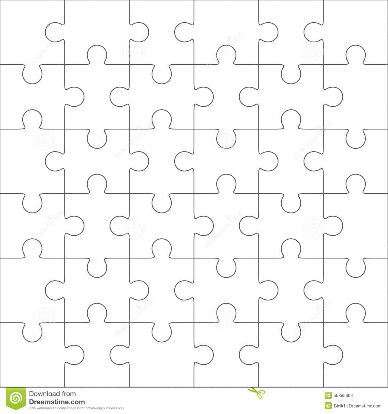 Jigsaw Puzzle Blank Template, 36 Pieces Stock Vector - Image: 55885603