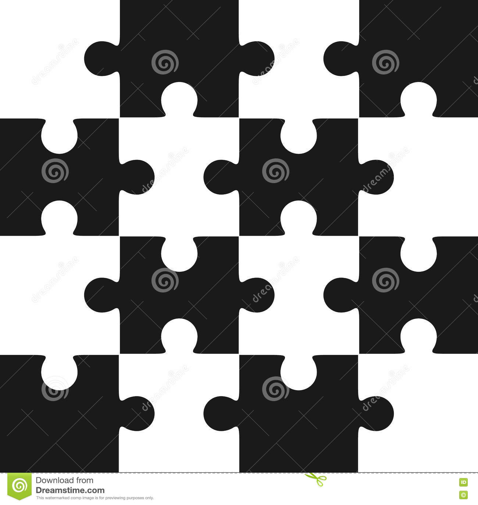 Jigsaw Puzzle Blank Template Sixteen Elements Stock Vector ...