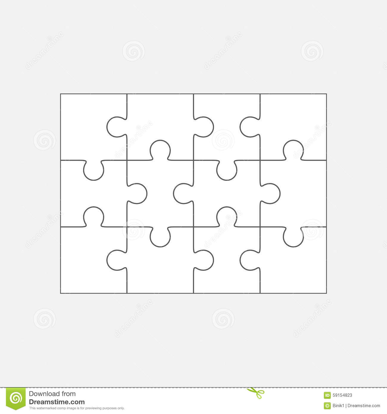 jigsaw puzzle blank template 4x3 twelve pieces stock illustration