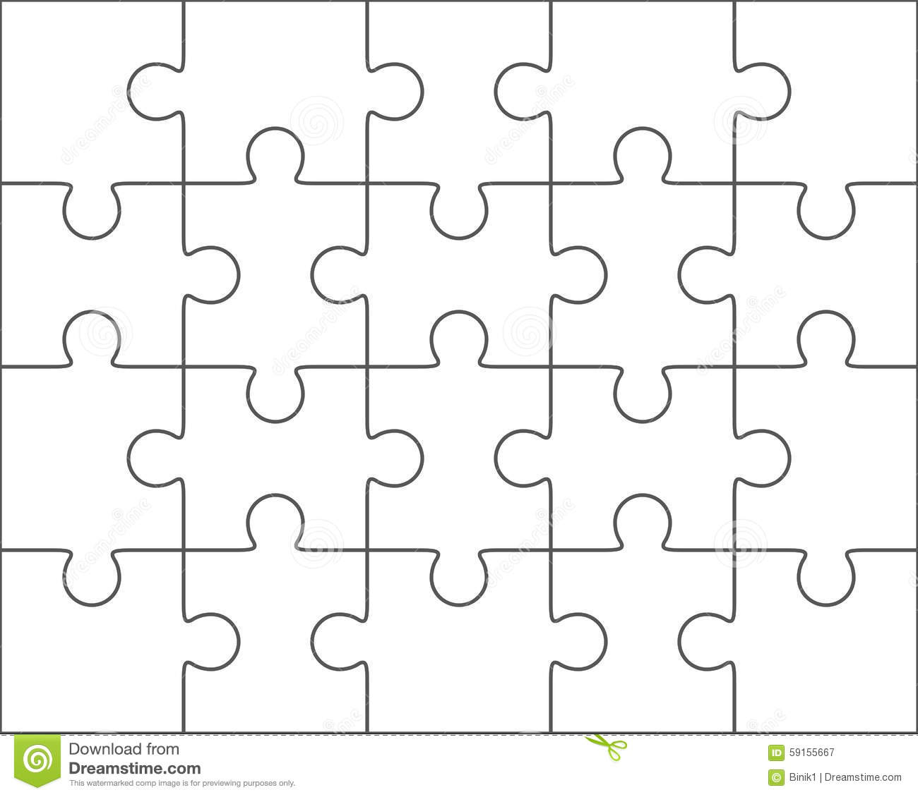 Jigsaw Puzzle Blank Template 4x5 Twenty Pieces Stock Illustration