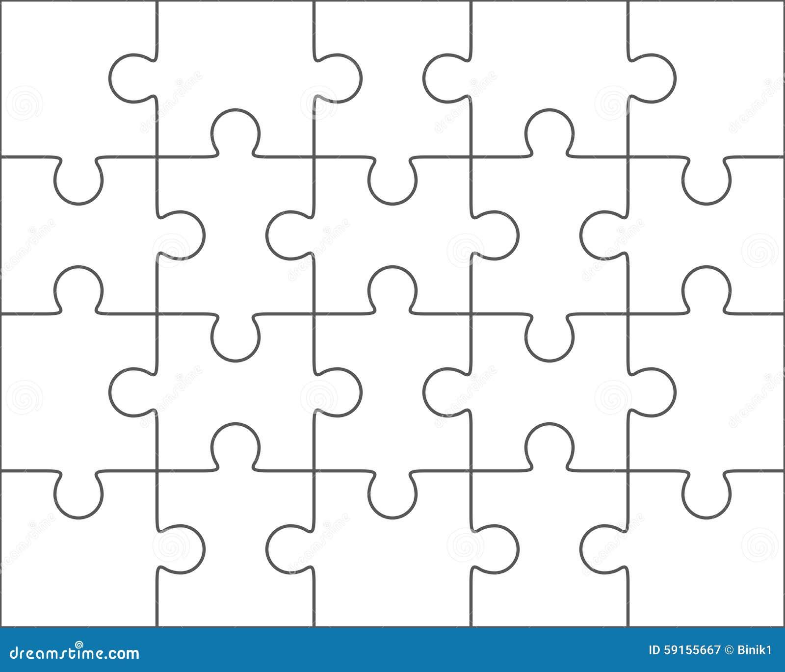 Jigsaw Puzzle Blank Template 4x5, Twenty Pieces Stock Illustration ...