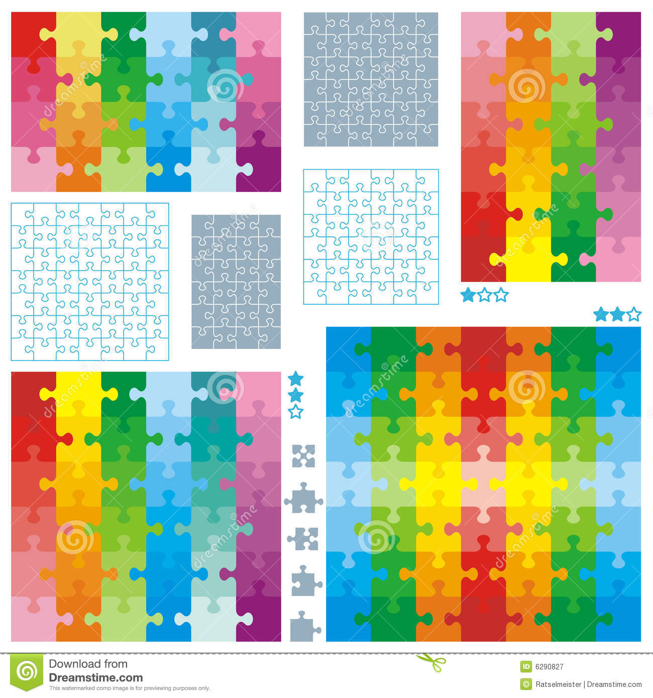 jigsaw puzzle blank templates and colorful pattern royalty