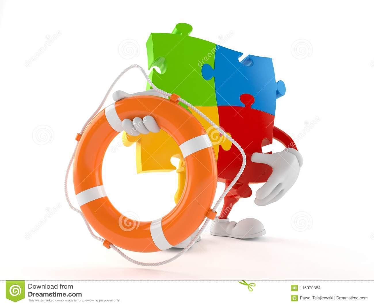 Jigsaw Puzzle Character Holding Life Buoy Stock Illustration