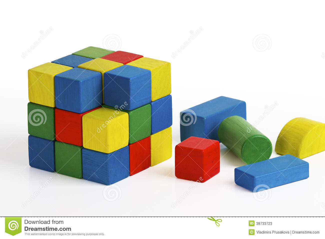 Jigsaw Puzzle Cube Toy, Multicolor Wooden Blocks Editorial Stock Photo - Image: 38733723