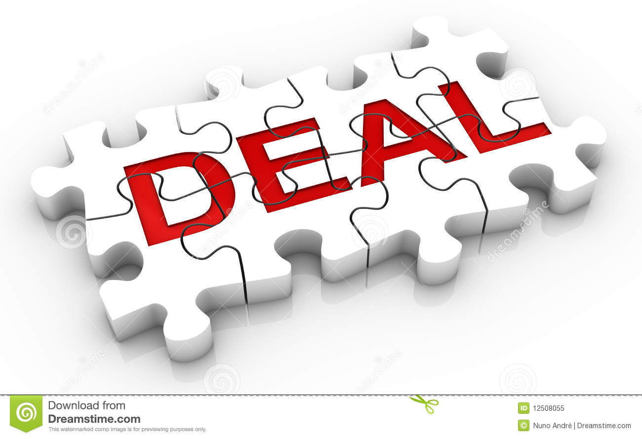 Jigsaw Puzzle Deal Word Royalty Free Stock Photo