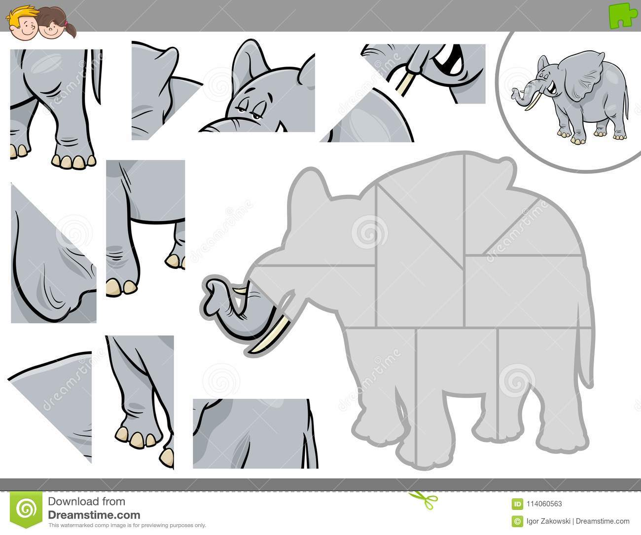 Jigsaw Puzzle Game With Elephant Animal Stock Vector - Illustration ...
