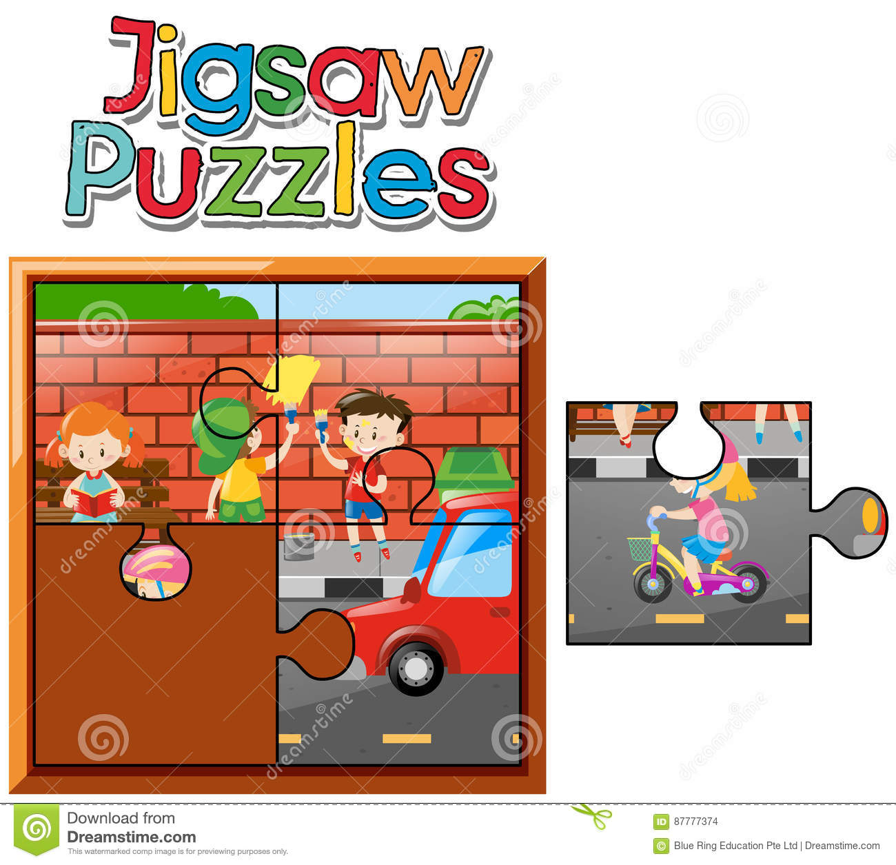 Jigsaw Puzzle Game With Kids Painting Wall Stock Vector ...