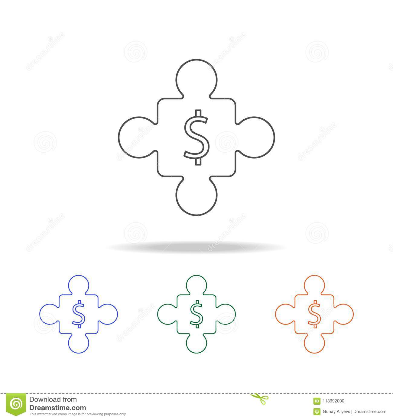 Jigsaw Puzzle Icon  Elements Of Banking In Multi Colored