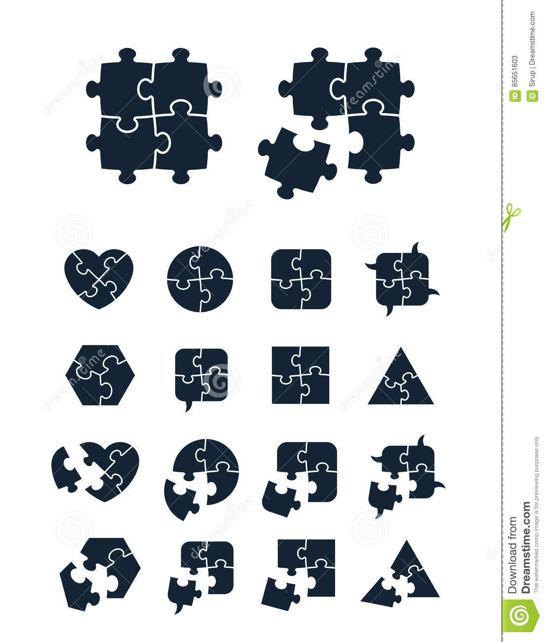 Jigsaw Puzzle Icons Collection Stock Vector - Illustration ...