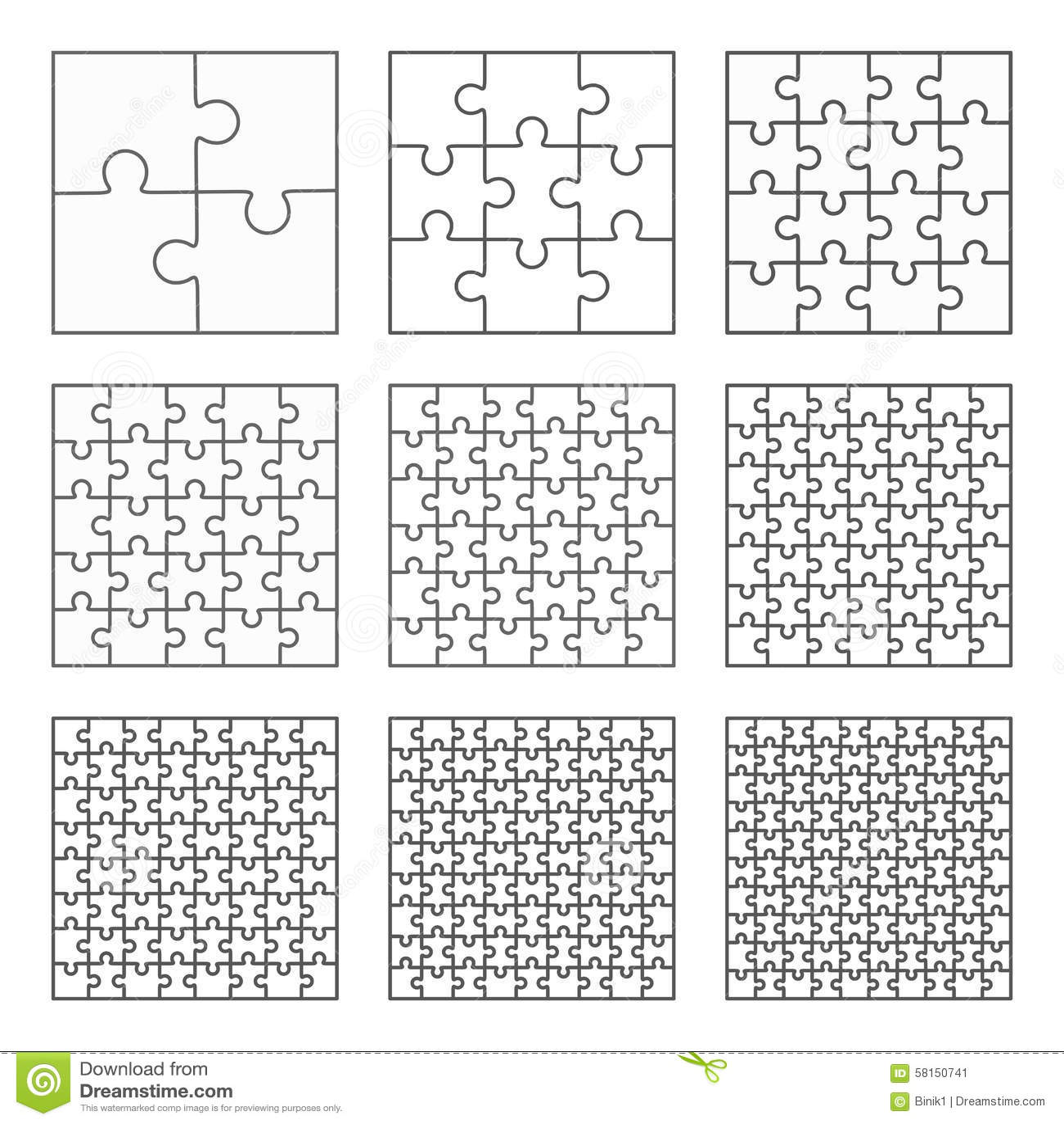 Jigsaw Puzzle Nine Vector Flat Blank Templates Set Cartoon Vector ...