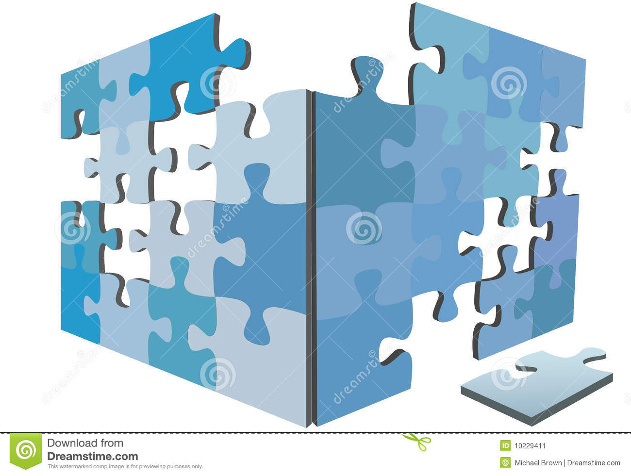 Jigsaw Puzzle Pieces 3D Solution Box