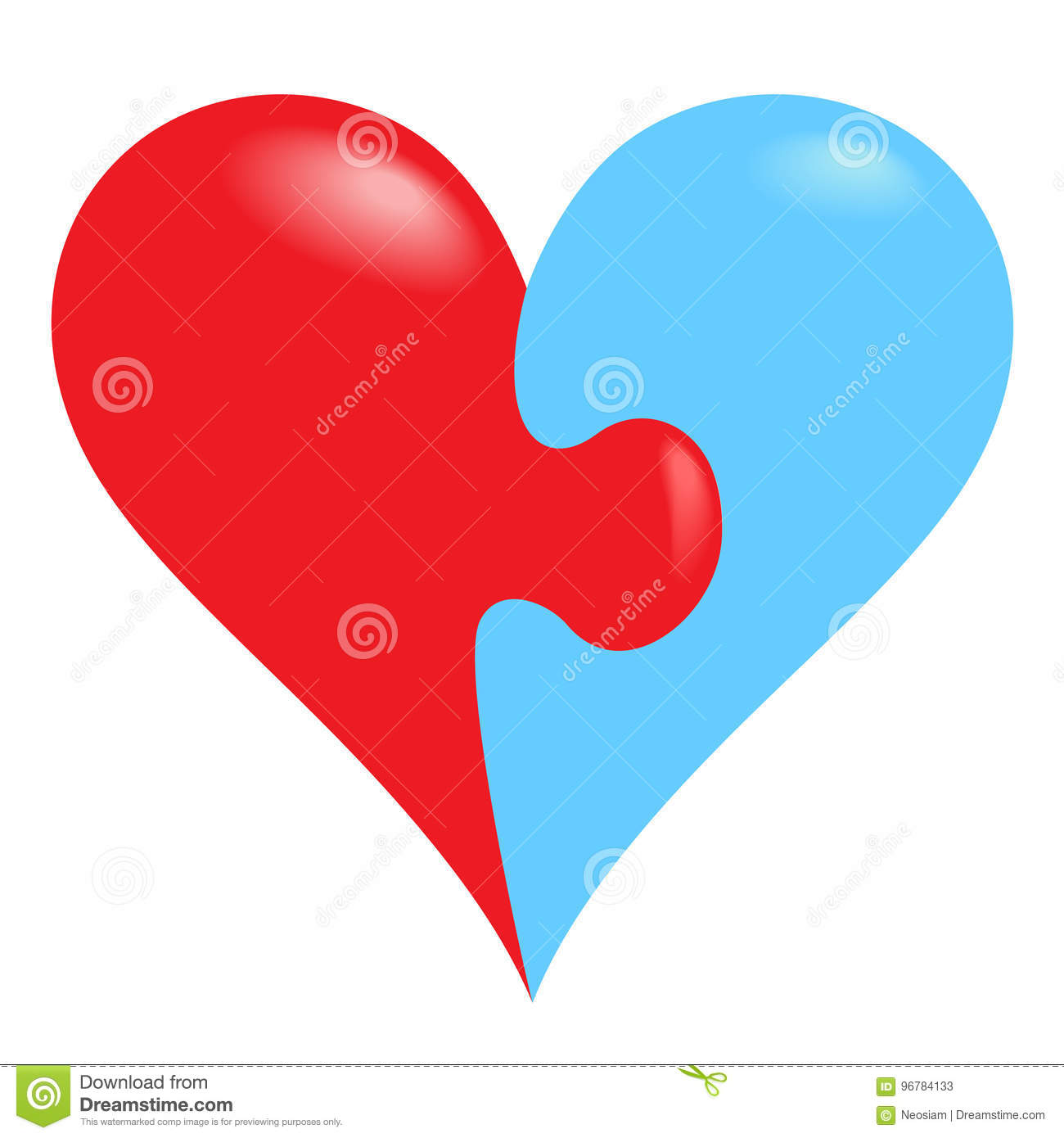 Jigsaw Puzzle Pieces In Form Of Heart Stock Illustration
