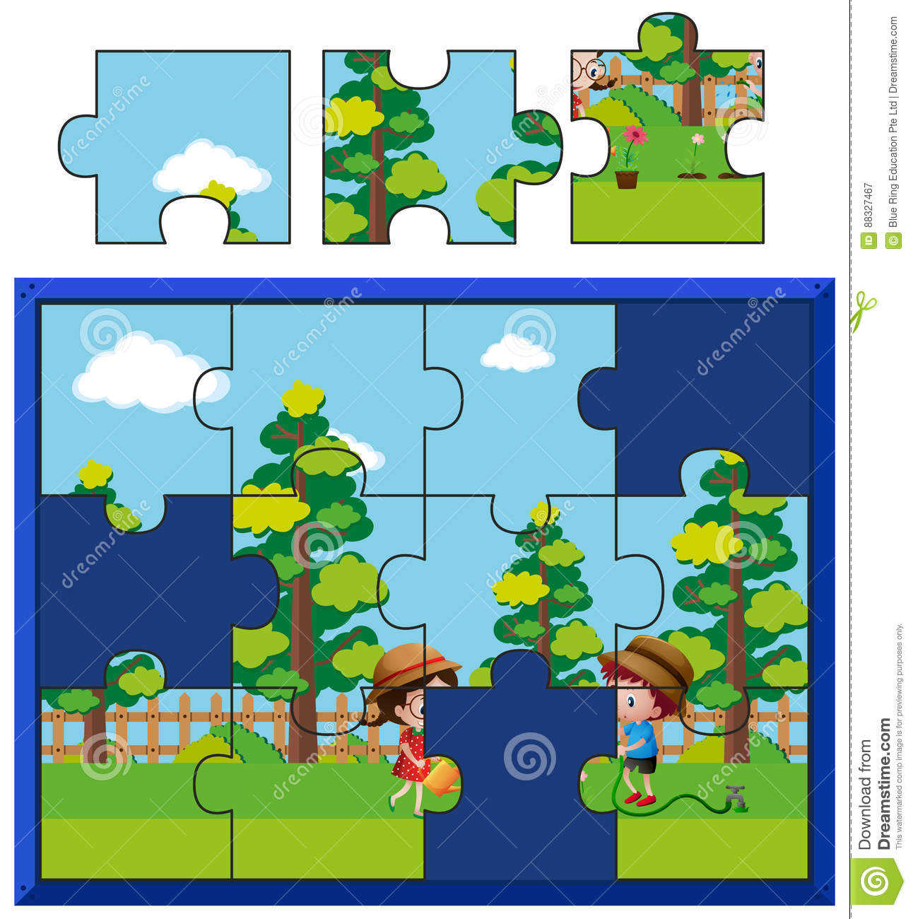jigsaw puzzle pieces for kids watering plants stock vector image