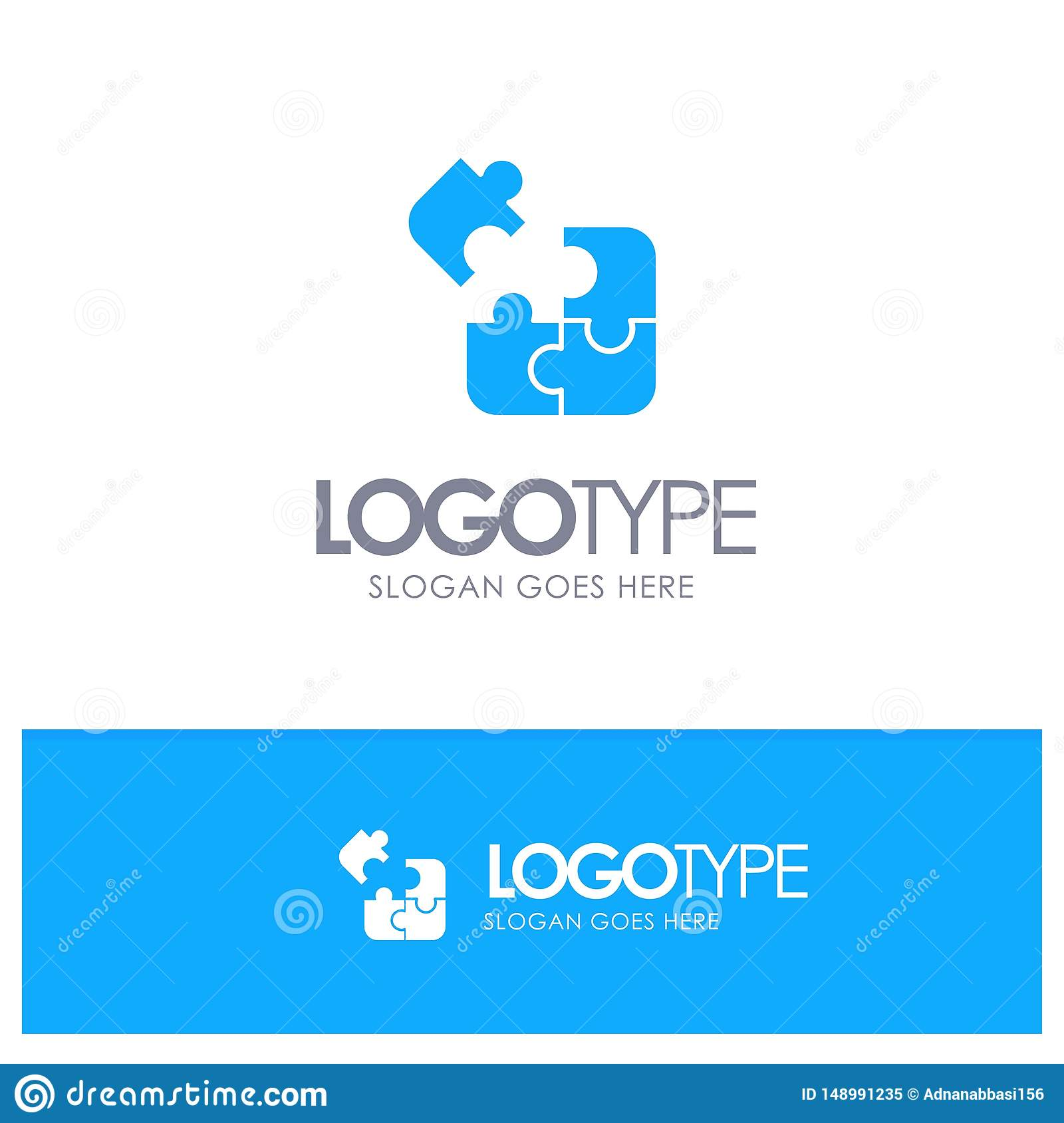 Jigsaw, Puzzle, Science, Solution Blue Solid Logo With ...