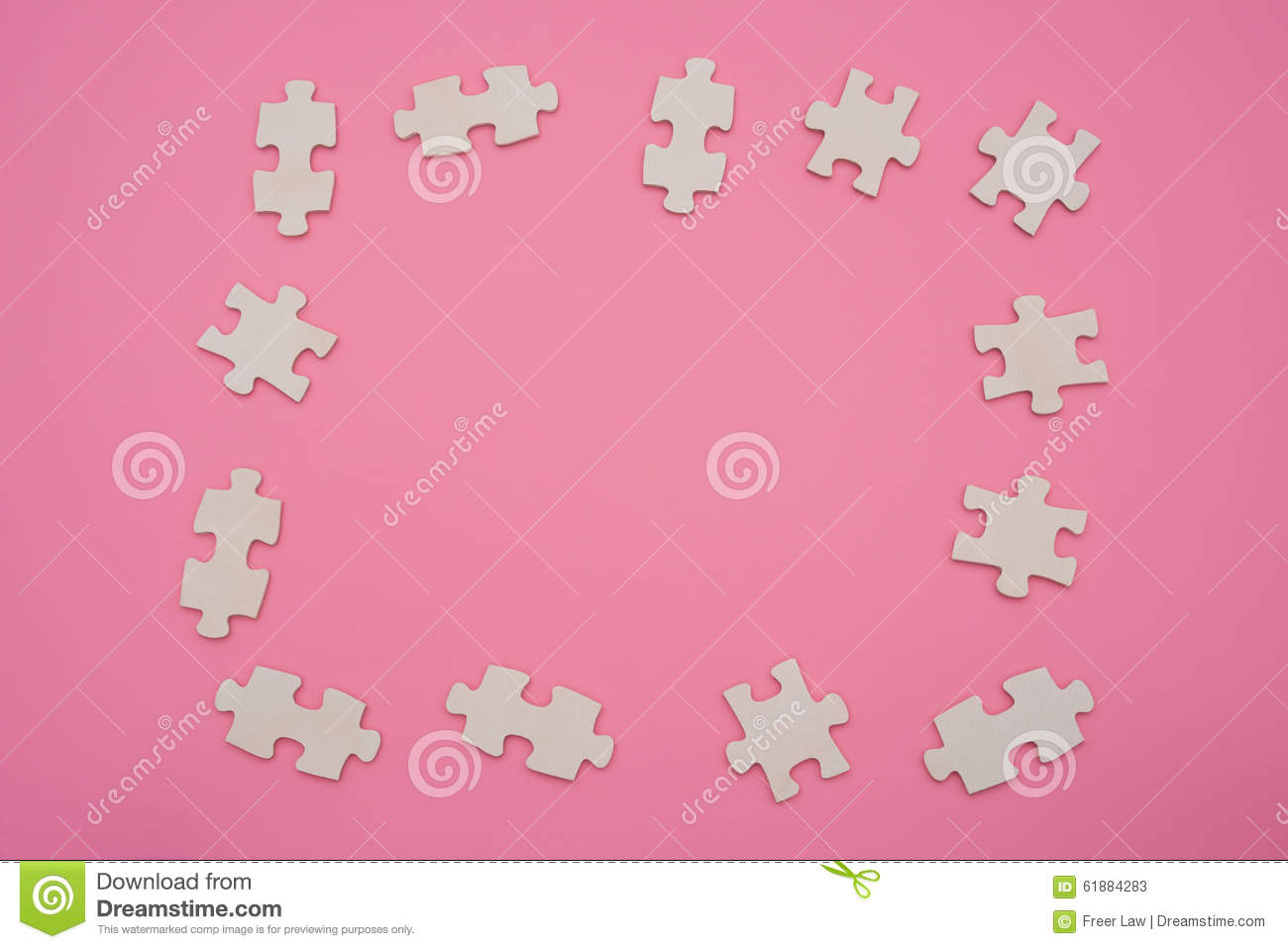 Jigsaw Puzzle Shaped As A Frame On Pink Stock Image Image Of