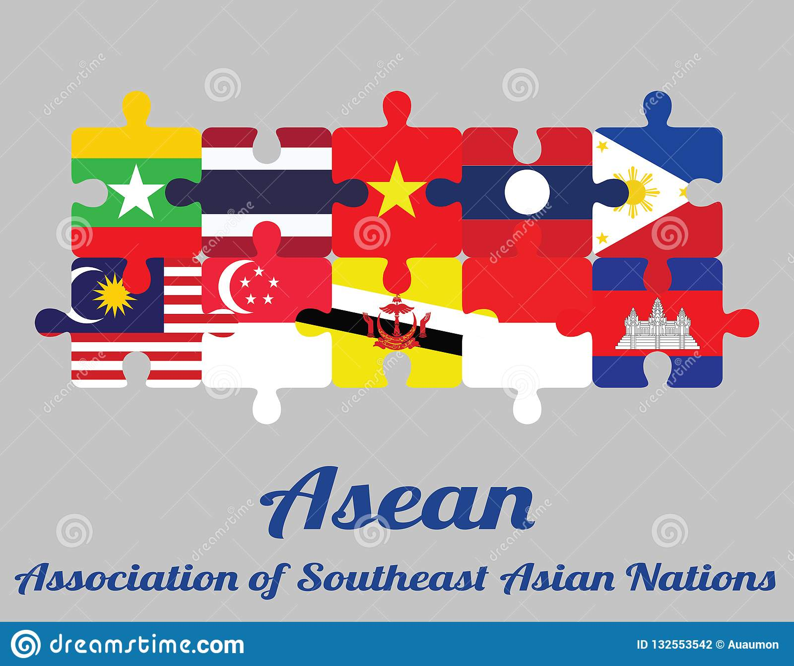 Jigsaw puzzle of ten countries member flag of Asean with text: Association  of Southeast Asian