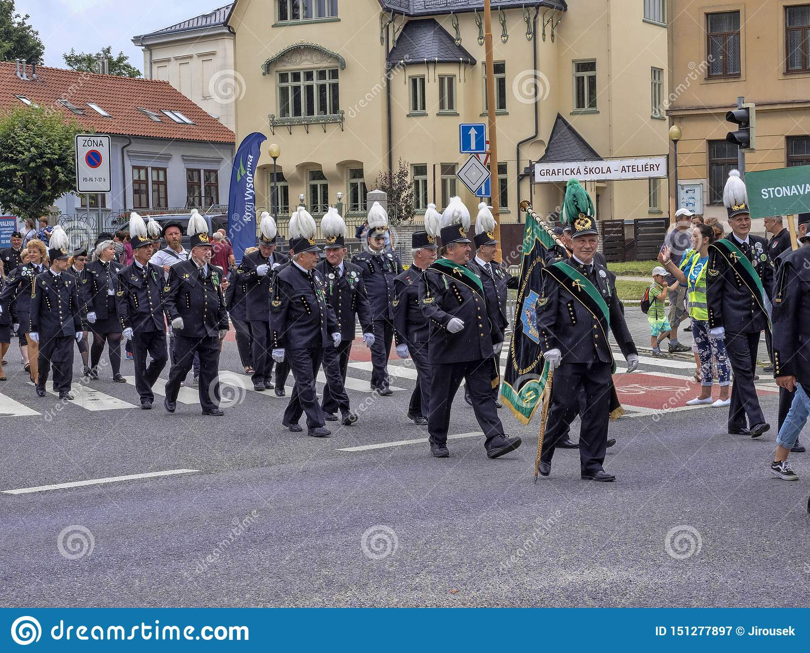 JIHLAVA CZECH REPUBLIC JUNE 22Th. 2019, The Mining Parade, June 22th. 20 Th, Jihlava, Czech Republic