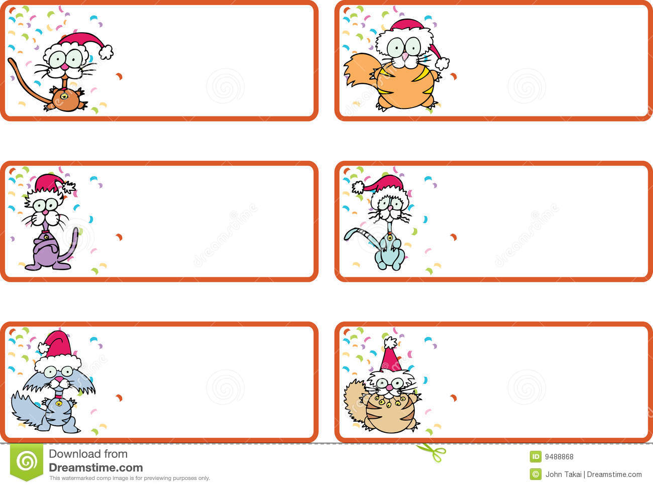 Jingle Cat Christmas Gift Tags Royalty Free Stock Photos