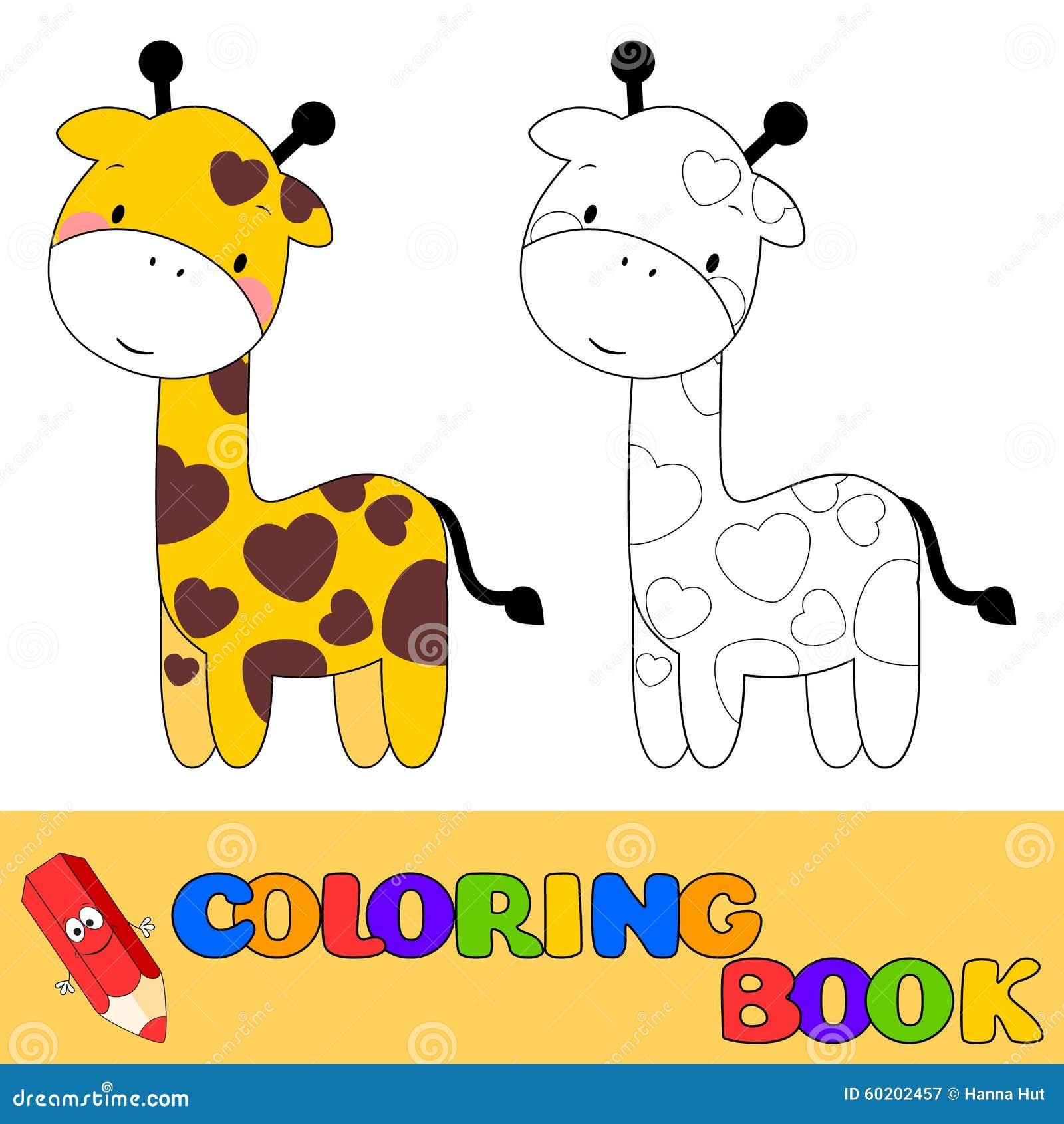 Jirafa Del Libro De Colorear Para Los Niños Ilustración del Vector ...