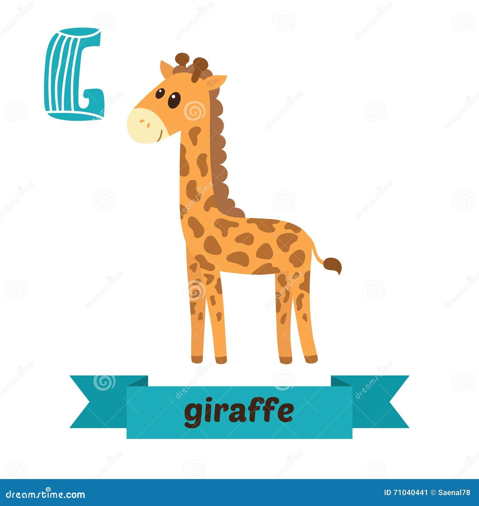 Jirafa letra de g alfabeto animal de los ni os lindos en for Cose con la g