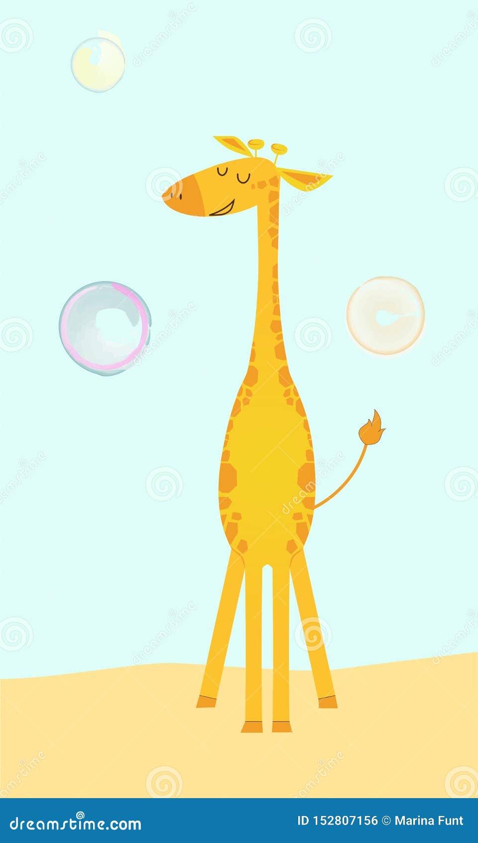 Jirafa linda en estilo de la historieta con las burbujas de jabón