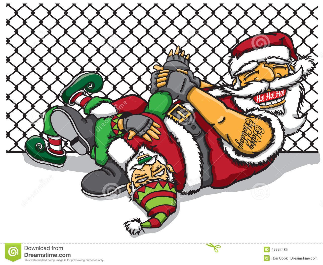 Jiu Jitsu Santa Stock Illustration Image 47775485