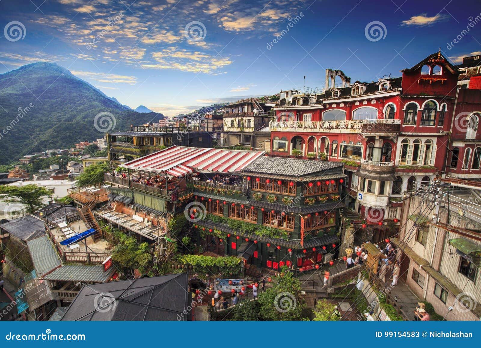 Jiufen, Taipei, Taiwán El significado del texto chino en el p