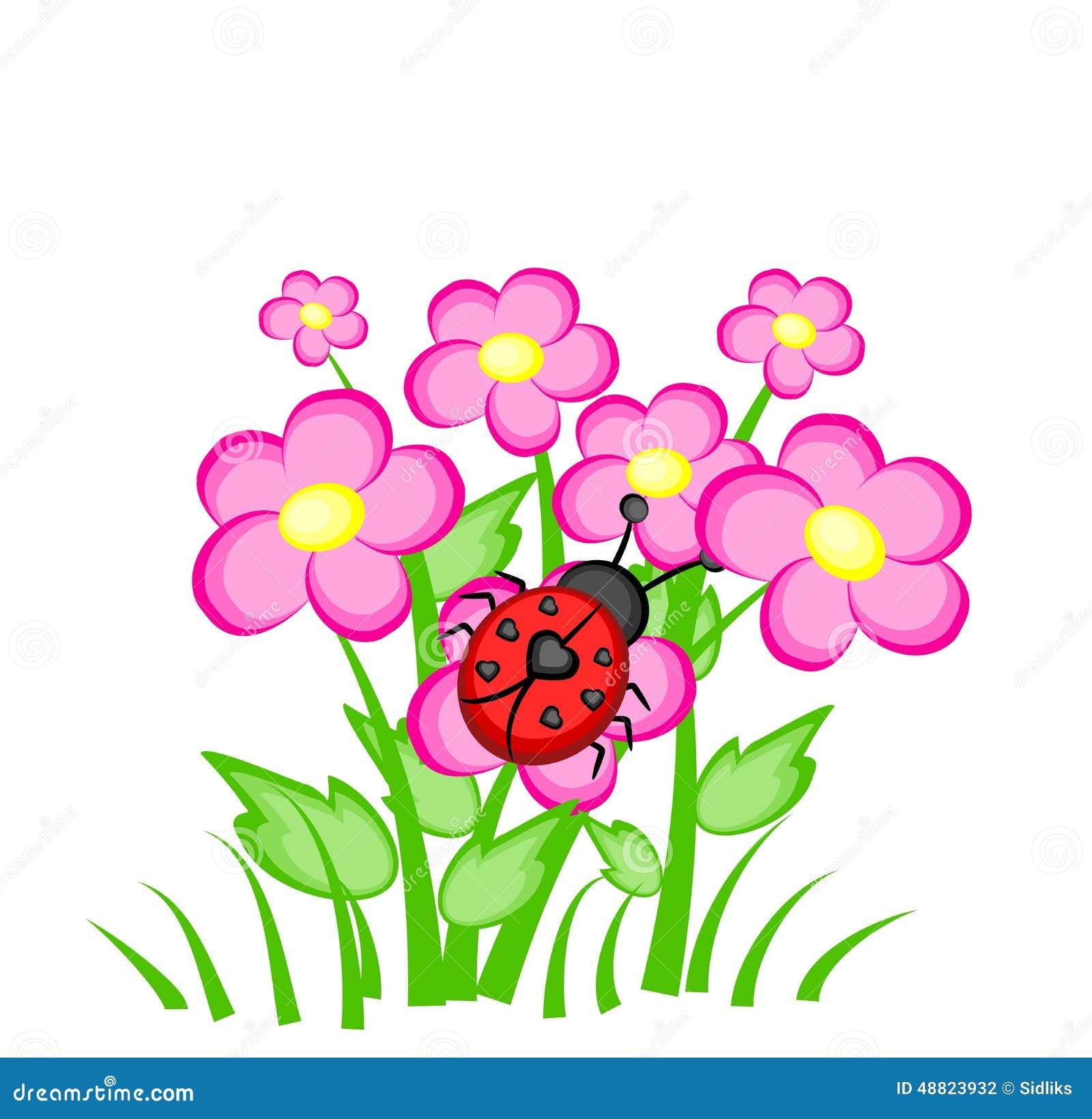 joaninha dos desenhos animados em flores cor de rosa ilustração