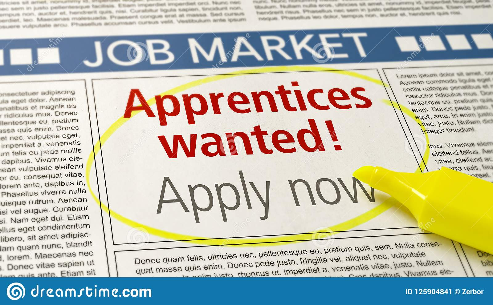 Job Ad In A Newspaper - Apprentices Wanted Stock Image