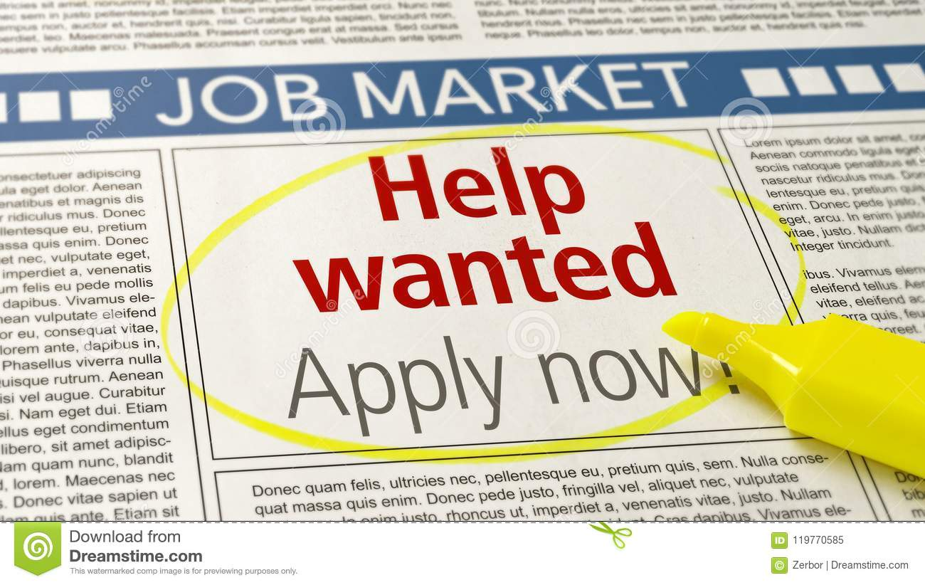 Job Ad In A Newspaper - Help Wanted Stock Image - Image of