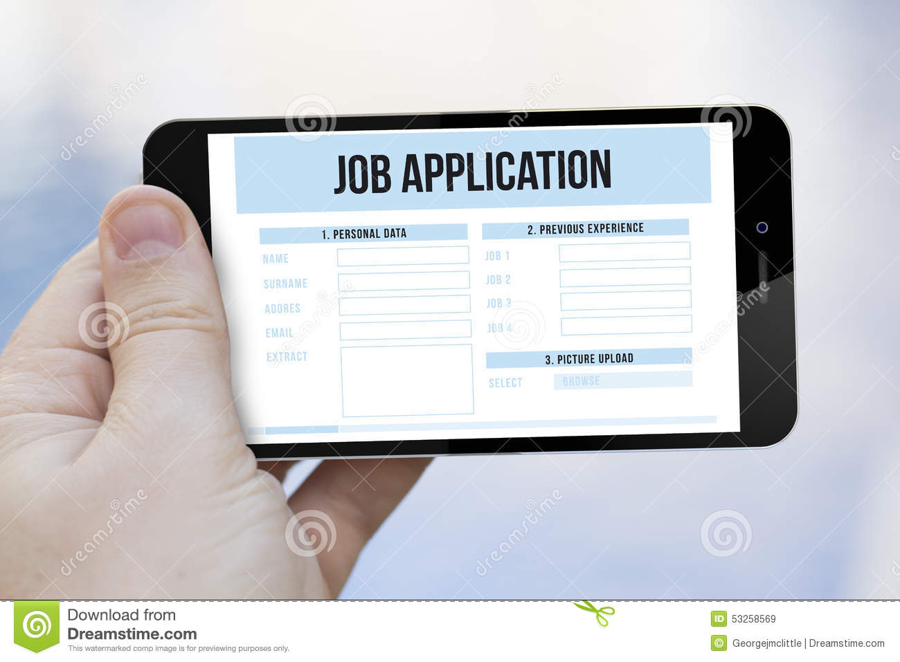 job application stock vector image  job application on cell phone royalty stock images