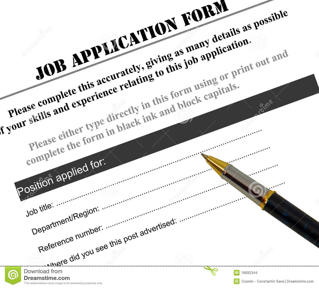 job application form stock images image 16692344 job application form