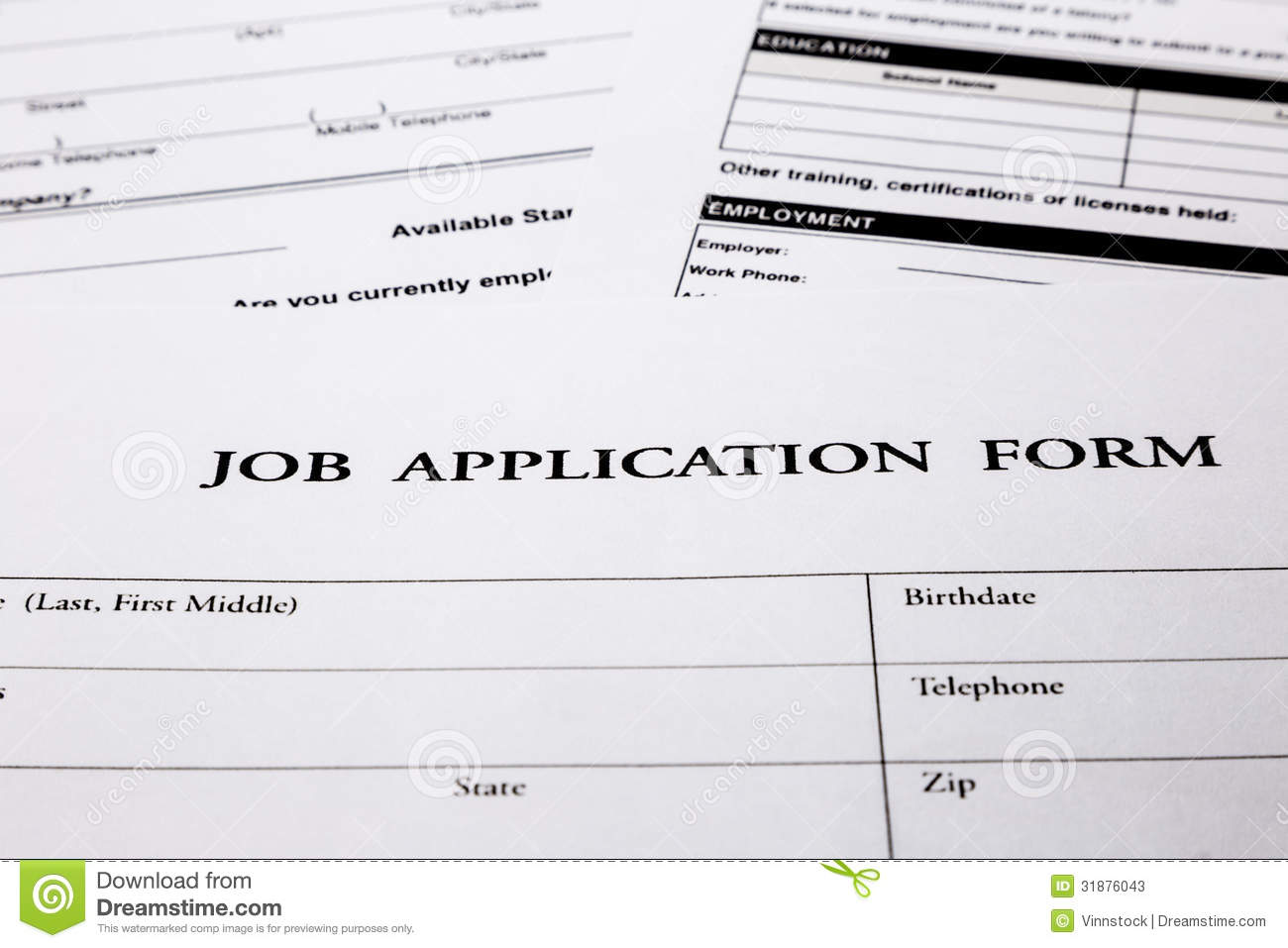 job application form stock photos image  job application form