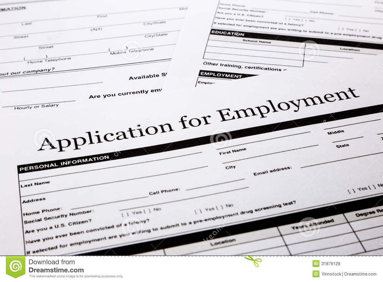 Employment application form, human resources and business concepts.