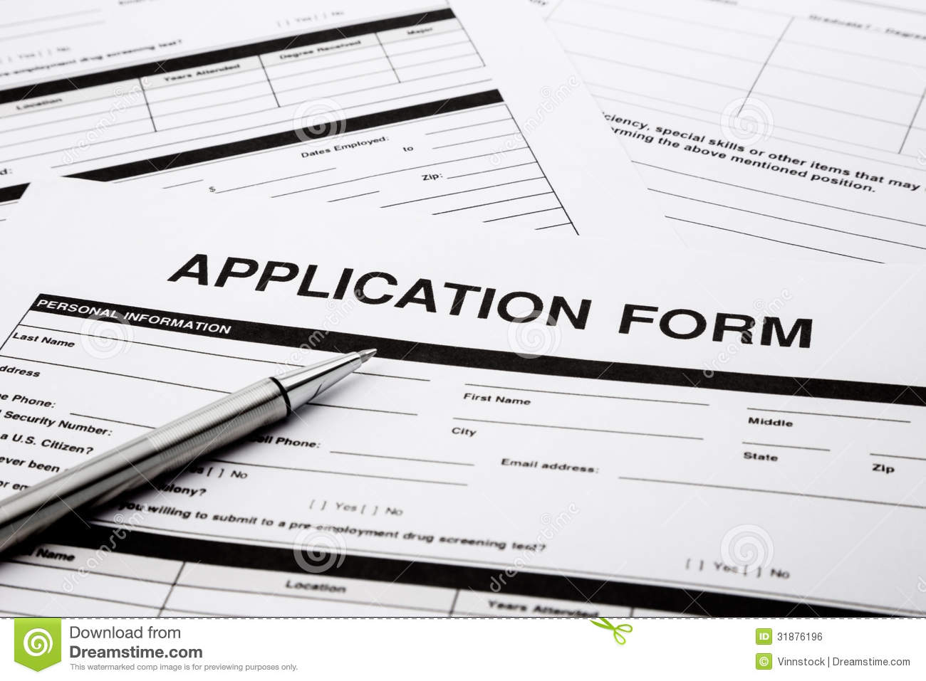 job application form stock photo image of recruitment 31876196