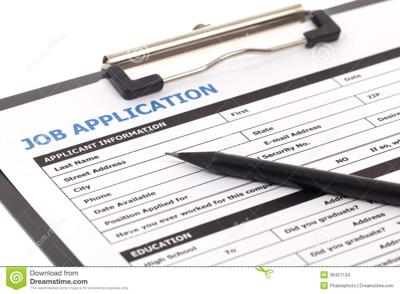 Job Application Form Isolated Stock Photo - Image of searching, hire ...