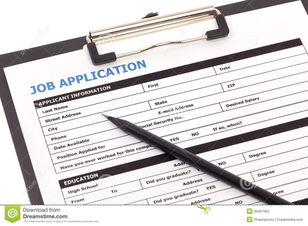 Job Application Form Stock Photos Image 36457063
