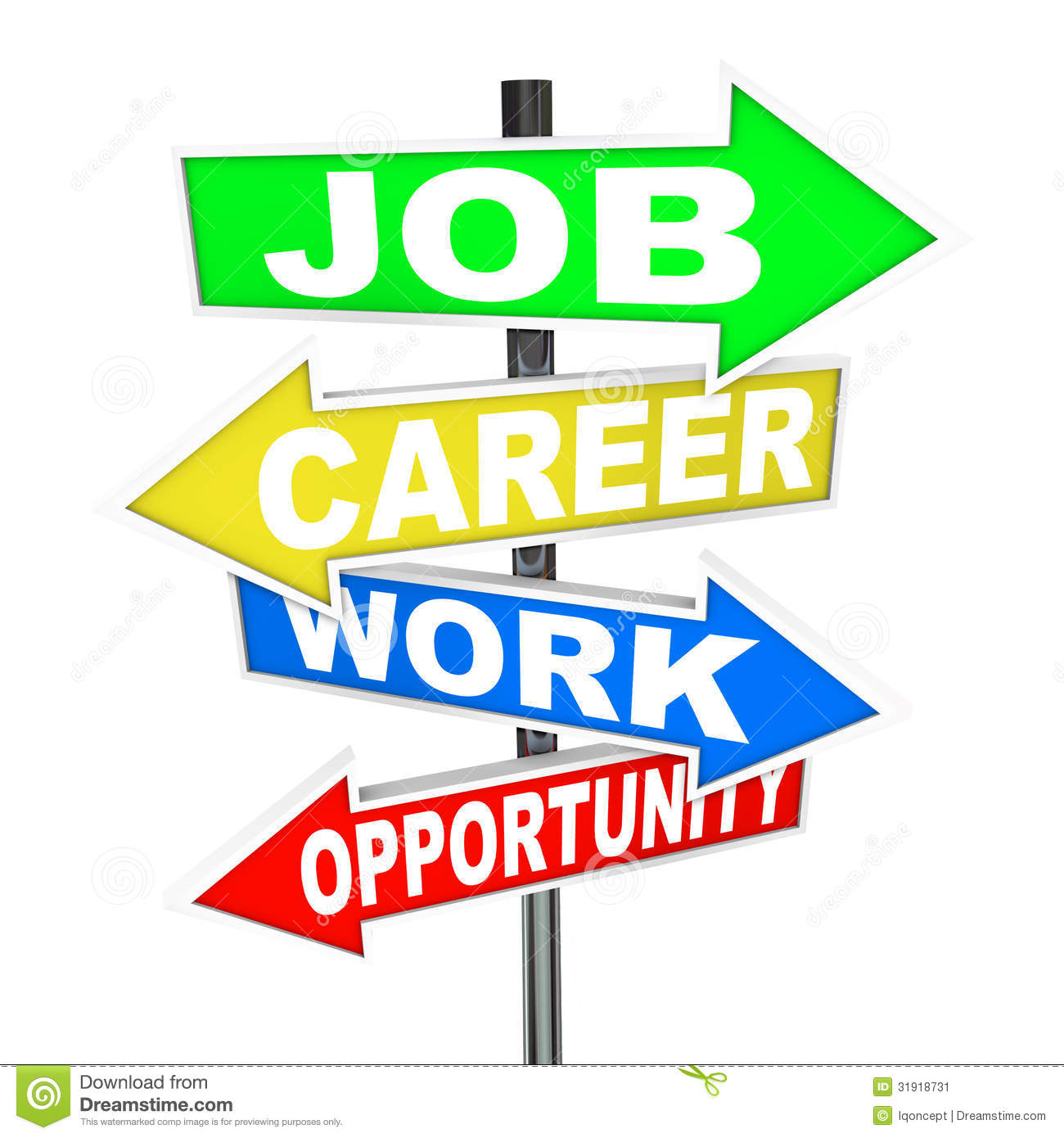 Job Career Work Opportunity Words Road Signs Stock Image - Image ...