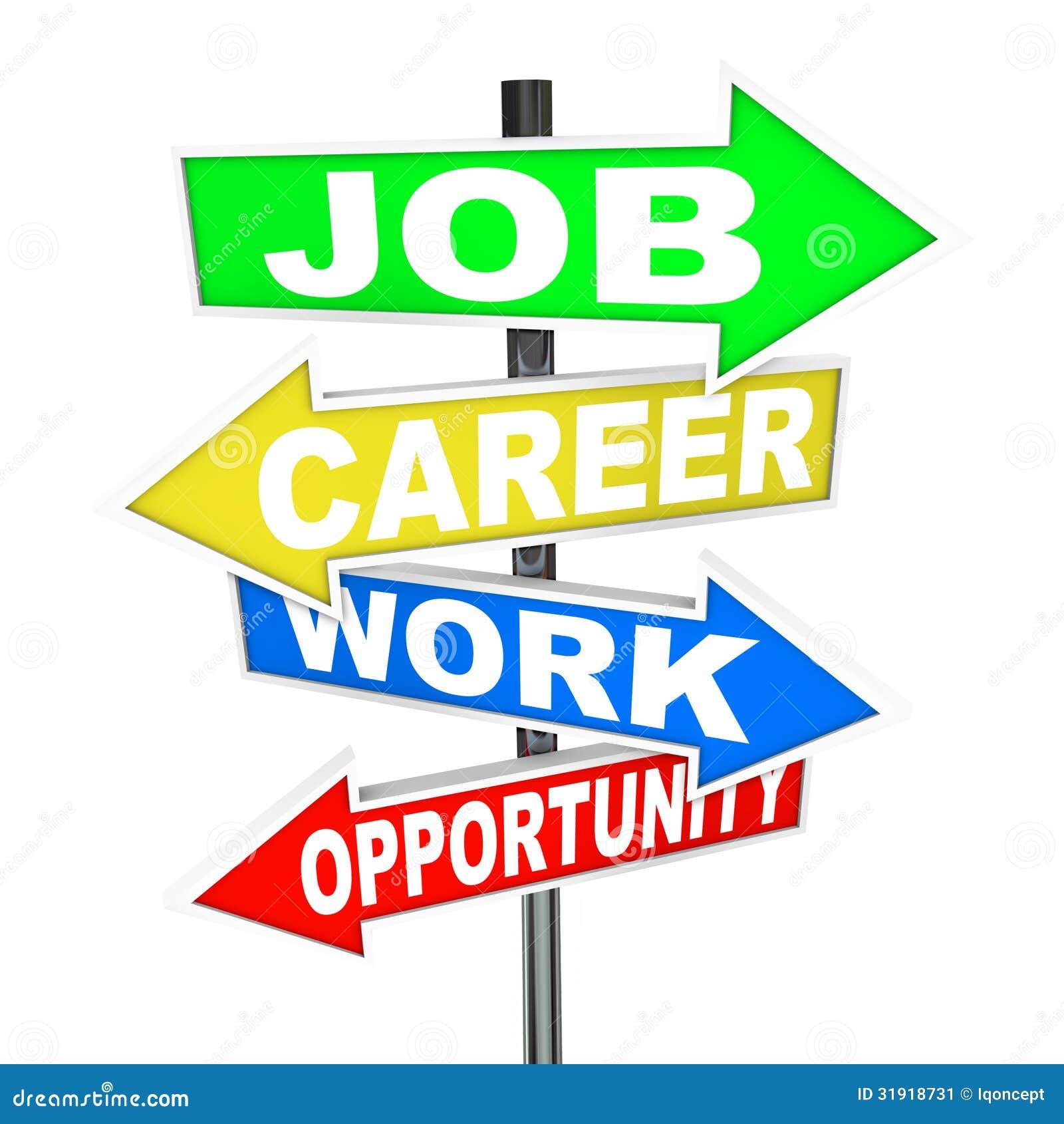 Job Career Work Opportunity Words-Verkeersteken
