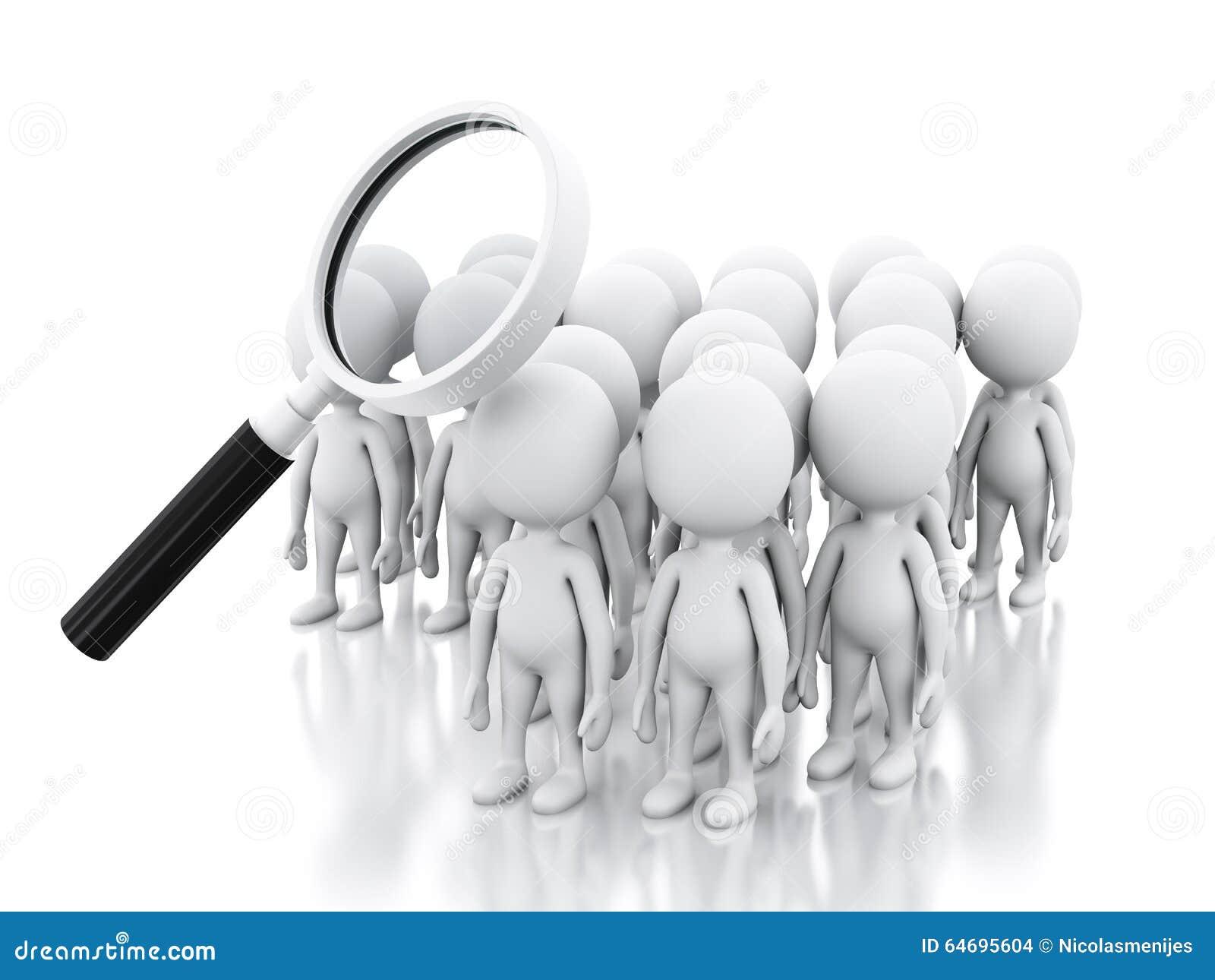 Job der Suche 3d mit Lupe über weißen Leuten