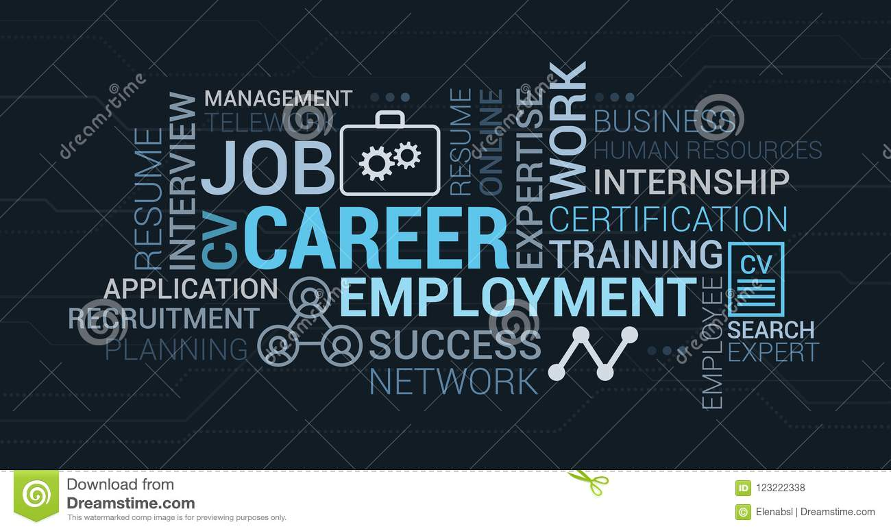 Job, employment and career tag cloud