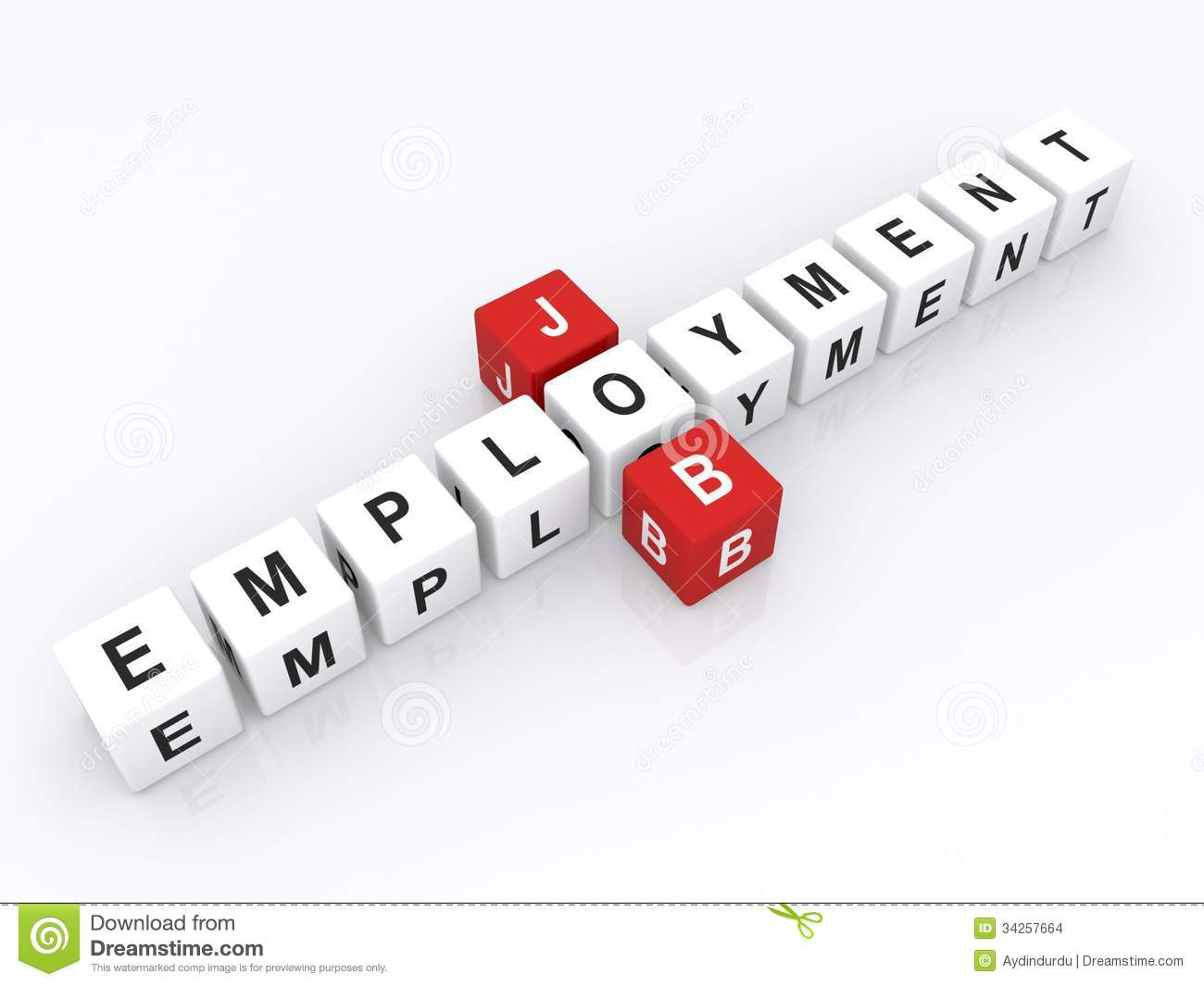Job And Employment Word Dice Stock Images Image 34257664