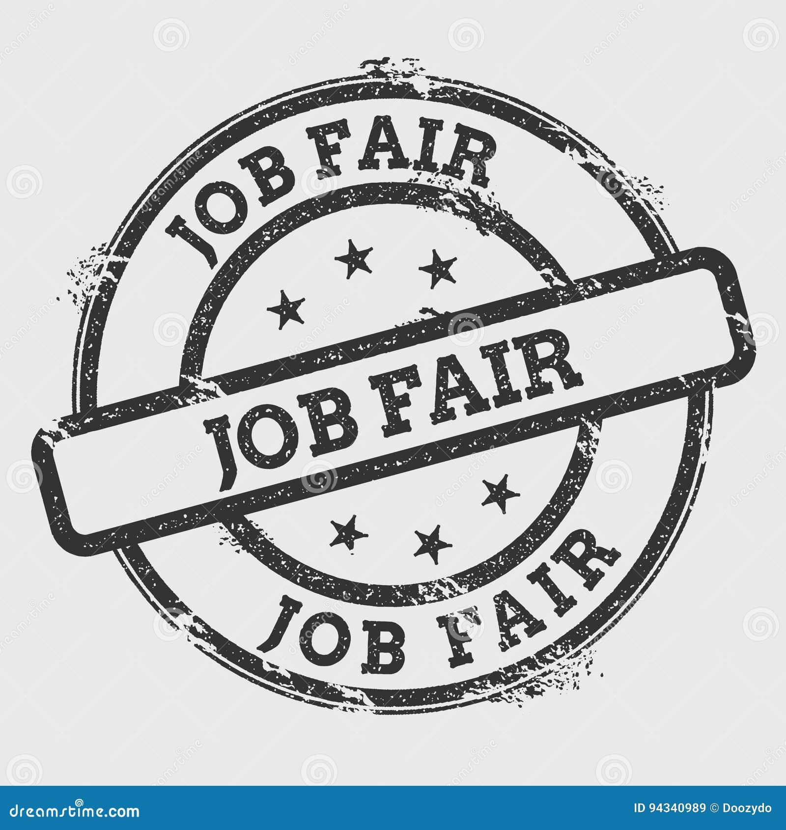 Job fair rubber stamp on white.