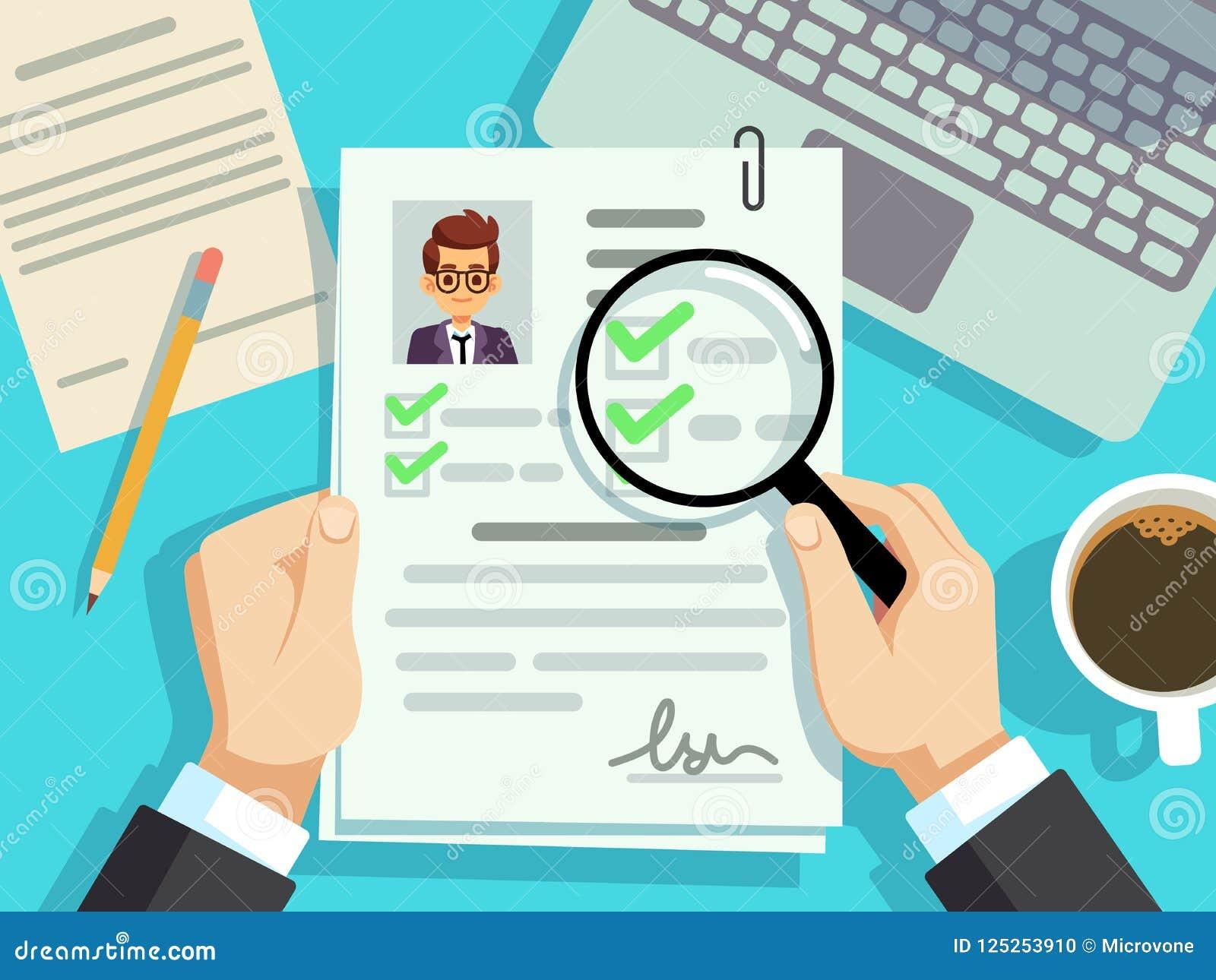 Job Interview Concept Businessman Cv Resume Work Evaluation Vector