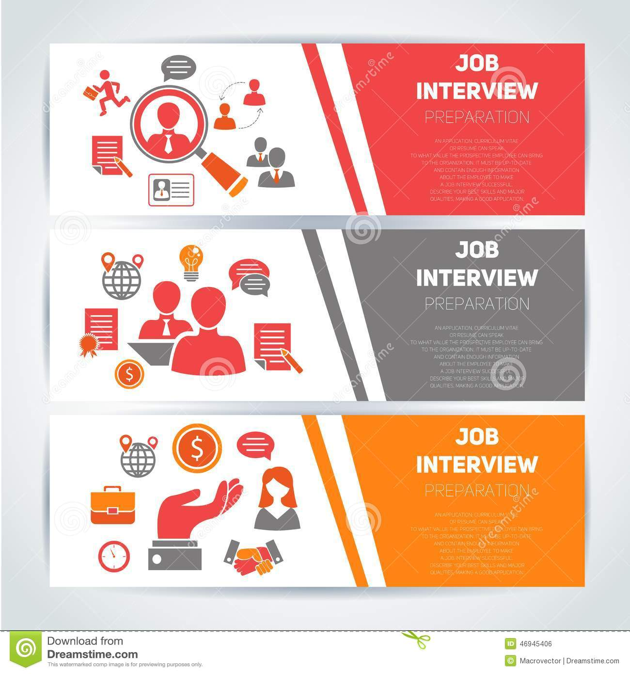 job interview flat banner set stock vector