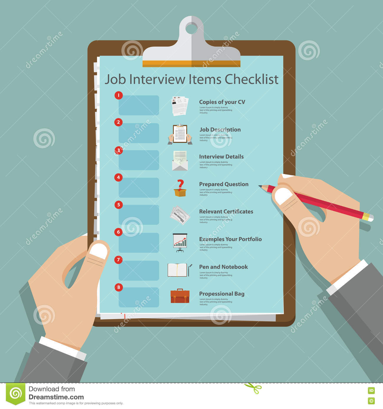 Job interview icons in flat design on clipboard. Job interview preparation infographic. Vector